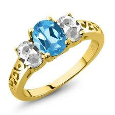 2.30 Ct Oval Swiss Blue Topaz White Topaz 14K Yellow Gold Ring