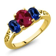 2.15 Ct Oval Red Created Ruby Blue Simulated Sapphire 14K Yellow Gold Ring