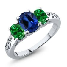 2.30 Ct Blue Simulated Sapphire Green Simulated Emerald 925 Sterling Silver Ring