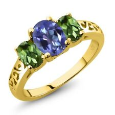 2.30 Ct Oval Purple Blue Mystic Topaz Green Tourmaline 14K Yellow Gold Ring