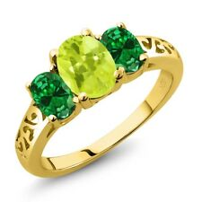 1.80 Ct Oval Yellow Lemon Quartz Green Simulated Emerald 18K Yellow Gold Ring