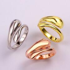 Fashion Women 18K Gold Plated Water Drop Ring Adjustable Finger Rings US Sz8