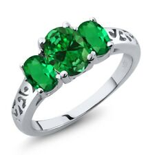 2.90 Ct Oval Simulated Emerald Simulated Emerald 925 Sterling Silver Ring