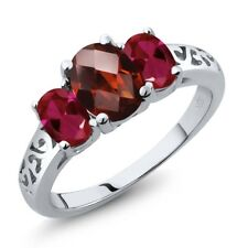 2.40 Ct Oval Checkerboard Red Garnet Red Created Ruby 18K White Gold Ring