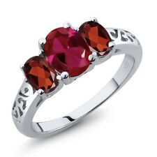 2.15 Ct Oval Red Created Ruby Red Garnet 18K White Gold Ring