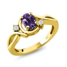 0.83 Ct Oval Purple Amethyst White Topaz 18K Yellow Gold Plated Silver Ring