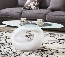 Contemporary Oval Glass Coffee Table Black White Red Modern Retro Furniture