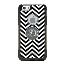 Monogram OtterBox Commuter for iPhone 5S 6 6S Plus White Grey Chevron Circle