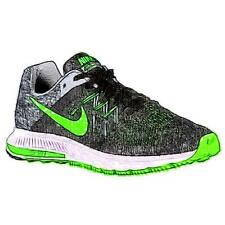 Nike Zoom Winflo 2 - Men's Running Shoes (BK/Cool GY/WT/GN Strike Width:Medium)