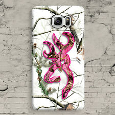 White Pink Deer Head Camo Snow Cute Cool Samsung Galaxy Note 3,4,5 Case Cover