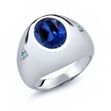 6.23 Ct Oval Simulated Sapphire Blue Simulated Topaz 18K White Gold Men's Ring