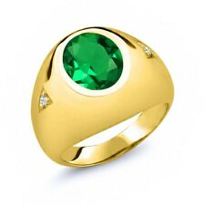 4.06 Ct Oval Green Simulated Emerald 18K Yellow Gold Men's Ring