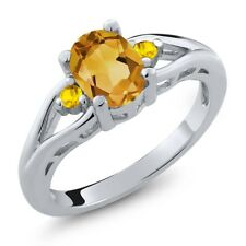 1.20 Ct Oval Yellow Citrine Yellow Sapphire 925 Sterling Silver Ring