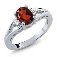 1.28 Ct Oval Red Garnet White Topaz 925 Sterling Silver Ring