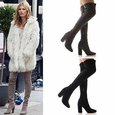 LADIES WOMENS BOOTS OVER THE KNEE SEXY SLOUCH LONG LEG TIE CELEB FASHION SIZE