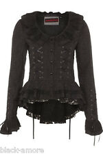 VICTORIAN EDWARDIAN BLACK JACKET CORSET DETAIL COAT RUFFLE NECK GOTHIC STEAMPUNK