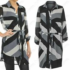 NEW LADIES BLOCK PRINT CHIFFON SHIRT DRESS WOMENS LONG SLEEVED BELTED BLOUSE TOP