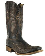 Corral Men's Square Toe Leather Cowboy Western Boots Brown/Bone Wing/Cross A1978