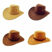 Unisex Women Men Western Cowboy Faux Suede Leather Hat Sunhat Headwear Cap SDE