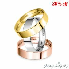 SOLID 10K WHITE YELLOW ROSE GOLD FLAT COMFORT FIT WEDDING BAND MENS WOMEN