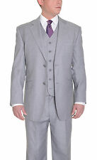 Classic Fit Solid Light Gray Two Button Three Piece Super 150's Wool Suit