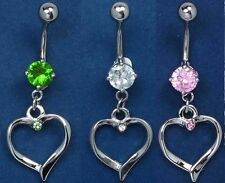 316L Stainless Steel Dangle Crystal Heart Belly Bar Ring Navel B25