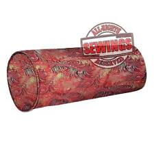 cbs-65-Peacock Feather Nice Chinese Brocade Cylinder Bolster Cover w Piping