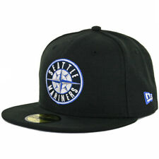 New Era 59Fifty Seattle Mariners Fitted Hat (Black/Compass Blue) Mens Custom Cap