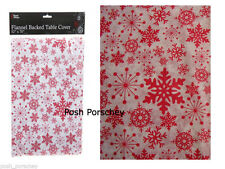 Wipe Clean Red Christmas Flannel Snowflake Dinner Table Cover Cloth 70 x 52
