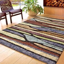 RUGS AREA RUGS CARPETS SHAG RUGS 8x10 AREA RUG MODERN COLORFUL STRIPED   ~ NEW ~