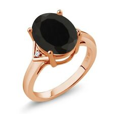 4.02 Ct Oval Black Onyx White Topaz 18K Rose Gold Plated Silver Ring
