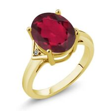 4.01 Ct Oval Ruby Red Mystic Quartz White Diamond 14K Yellow Gold Ring