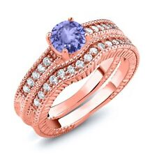 1.25 Ct Round Blue Tanzanite 18K Rose Gold Plated Silver Ring