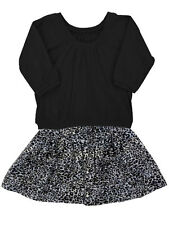 Girls Leopard Print Skirt & Black Jersey Top Set Kit+Lili Size 5, 7 $88 NWT