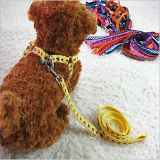 New Small Dog Pet Puppy Cat Adjustable Nylon Harness with Lead leash 6 Colors