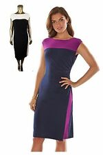 RALPH LAUREN CHAPS Dress BLACK Navy STRETCH Women's L 14 16 ~ NWT $95