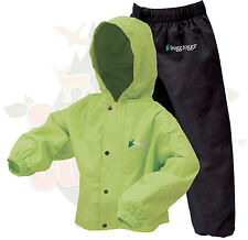SMALL Size 4 Frogg Toggs Kids Polly Woggs Hi Vis Green Rain Suit Jacket & Pants