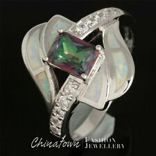 #6-10 5X7 RADIANT RAINBOW MYSTIC TOPAZ LAB WHITE FIRE OPAL SILVER SF BYPASS RING