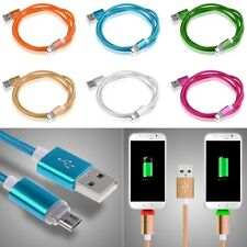 Aluminum Micro USB Male Charger Adapter Braided Rope LED Light Sync Data Cable