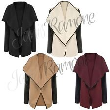 New Ladies PU Leather Quilted Trim Open Waterfall Womens Blazer Jacket Cardigan