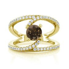 1.38 Ct Round Brown Smoky Quartz 18K Yellow Gold Plated Silver Swirl Ring