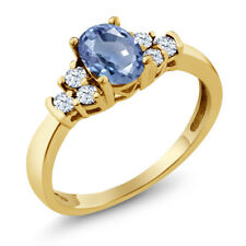 0.87 Ct Oval Blue Sapphire White Topaz 18K Yellow Gold Plated Silver Ring