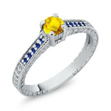 0.49 Ct Round Yellow Sapphire 925 Sterling Silver Engagement Ring