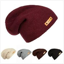 Unisex Women Men Winter Beanie Hat Hip-Hop Fashion Slouchy Baggy Knit Ski Cap
