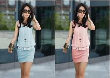 Fashion Summer Women Sleeveless Solid Color Casual Chiffon Mini Dress C109&J004