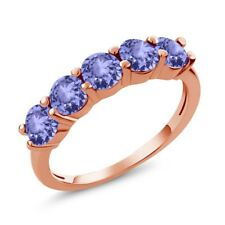 0.90 Ct Round Blue AAA Tanzanite 18K Rose Gold Plated Silver Wedding Band Ring