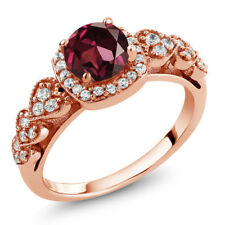 1.32 Ct Round Red Rhodolite Garnet 18K Rose Gold Plated Silver Ring