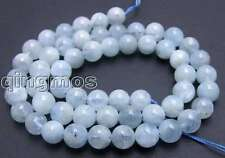 "SALE small 5-5.5mm Round natural Aquamarine gemstone loose Beads strand 15""-l404"