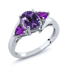 1.42 Ct Oval Purple Amethyst 925 Sterling Silver Ring