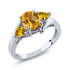 1.65 Ct Oval Checkerboard Yellow Citrine 925 Sterling Silver Ring